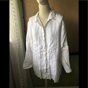 Eileen Fisher textures white linen long tunic L